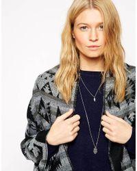 ASOS | Metallic Hamsa & Feather Multirow Necklace | Lyst