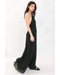 Kimchi Blue Black Apron Neck Embroidered Maxi Dress