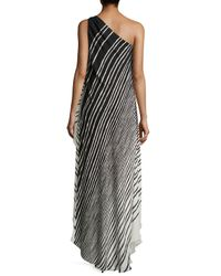 Halston - Black Striped One-shoulder High-low Gown - Lyst