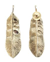 Chamak by Priya Kakkar | Metallic Set Of 2 - Gold Feather Drop And Crystal Detail Star Earrings | Lyst