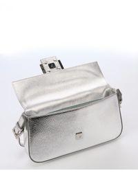 Fendi - Metallic Silver Leather Crystal Logo Detail Baguette - Lyst