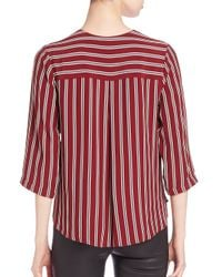 Bailey 44 Red Intersection Striped Faux-wrap Top