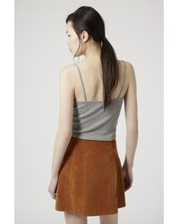 TOPSHOP | Gray Ribbed Cropped Cami | Lyst