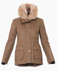 Veronica Beard | Brown Glade Funnel Neck Patch Pocket Coat With Removable Fur Collar | Lyst