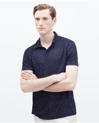 Zara | Blue Short Sleeve Polo Shirt for Men | Lyst