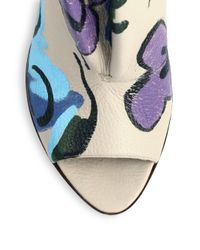 Burberry Prorsum - Natural Hand-Painted Leather Peep-Toe Booties - Lyst