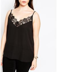 ASOS - Gray Cami With Lace Detail - Lyst