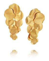 Herve Van Der Straeten Metallic Hammered Gold Plated Clip Earrings