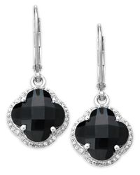 Macy's | Metallic Sterling Silver Black Onyx (6-3/4 Ct. T.w.) And White Topaz (5/8 Ct. T.w.) Clover Earrings | Lyst