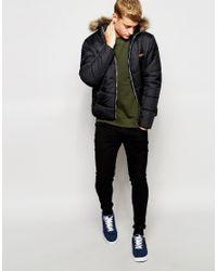 Jack & Jones | Black Padded Jacket With Faux Fur Hood for Men | Lyst