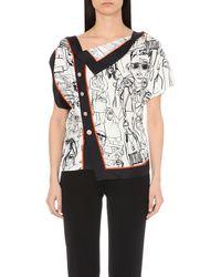 Emilio Pucci - Black Tourist-print Silk Top - Lyst
