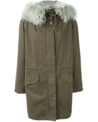 Army by Yves Salomon Green Lined Hooded Parka