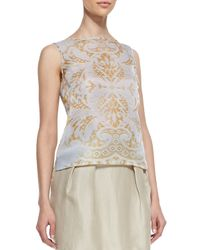 Lafayette 148 New York - Natural Maddie Sleeveless Damask Top - Lyst