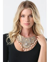 Bebe - White Scrolled Bib Necklace - Lyst
