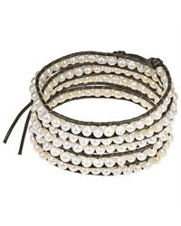 Aeravida | Brown White Purity Freshwater Pearl Snake Cord Leather 5-wrap Bracelet | Lyst