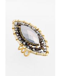 Panacea | Metallic Marquise Crystal Biconvex Ring - Bronze | Lyst