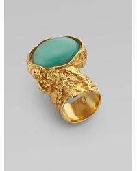 Saint Laurent - Blue Goldtone Arty Ovale Ring - Lyst