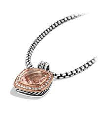 David Yurman - Pink Albion Pendant With Diamonds In Rose Gold, 14Mm Gemstone - Lyst