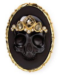 Alexis Bittar | Elements Black Agate & Pyrite Skull Cameo Brooch | Lyst
