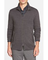 John Varvatos - Gray Merino Wool Blend Knit Zip Sweater With Leather Trim for Men - Lyst