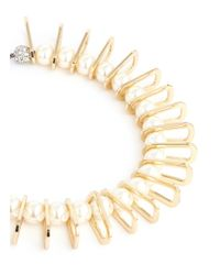 Venna - White Chain Link Spacer Resin Pearl Collar Necklace - Lyst