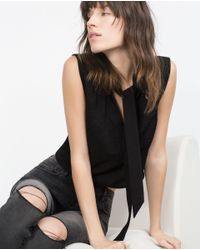 Zara | Black Top With Bow | Lyst