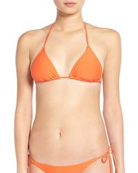 Volcom - Red 'simply Solid' Triangle Bikini Top - Lyst
