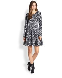DKNY - Black Knit Printed Dress - Lyst
