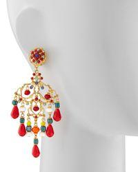 Jose & Maria Barrera | Multicolor Beaded Chandelier Clip Earrings | Lyst