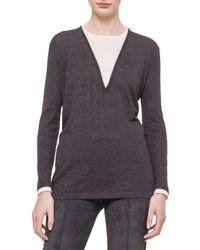 Akris - Gray Jewel-neck Long-sleeve Bi-color Tunic - Lyst