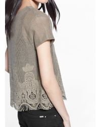 Mango Natural Crochet Knit T-Shirt