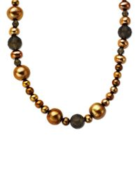 Lord & Taylor | Multi Sized Brown Pearl Necklace In 14 Kt. Yellow Gold 36 Inches | Lyst