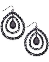 INC International Concepts - Black Hematite-tone Crystal Orbital Drop Earrings, Only At Macy's - Lyst