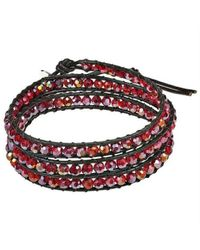 Aeravida | Metallic Cherry Muse Crystal Tribal Wrap Leather Bracelet | Lyst
