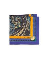 Etro | Purple Bordered Paisley Silk Pocket Square for Men | Lyst