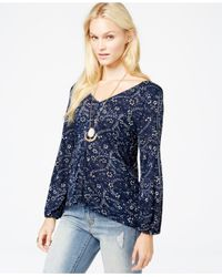 Lucky Brand - Blue Lucky Brand Printed Button-down Peasant Top - Lyst
