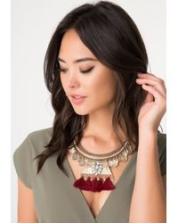 Bebe | Red Coin & Tassel Necklace | Lyst