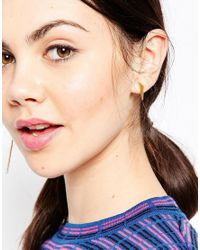 ASOS | Metallic Gold Plated Sterling Silver Mismatch Spike And Drop Earrings | Lyst