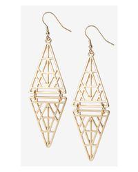 Express Metallic Cut-Out Double Triangle Dangle Earrings