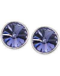 Givenchy | Metallic Silver-tone Blue Crystal Stud Earrings | Lyst