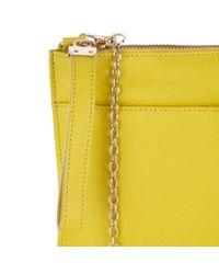 Oasis Yellow Stephanie Leather Clutch Bag