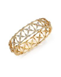 Adriana Orsini Metallic Kaleidoscope Pavé Bangle Bracelet/goldtone