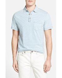 Tailor Vintage - Blue Stripe Short Sleeve Henley for Men - Lyst