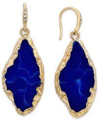 ABS By Allen Schwartz Blue Gold-Tone Lapis Stone Drop Earrings