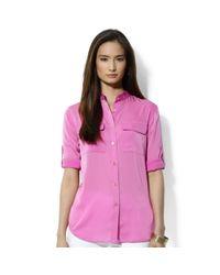 Lauren by Ralph Lauren - Pink Roll Tab Sleeve Satin Utility Shirt - Lyst