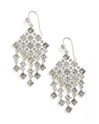 Lauren by Ralph Lauren | Metallic Square Stone Drop Earrings | Lyst