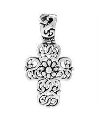 Aeravida - Metallic Intertwine Flower Swirl Filigree Cross Strlg Silver Pendant - Lyst