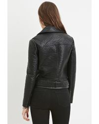 Forever 21 | Black Faux Leather Moto Jacket | Lyst