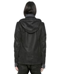Alexandre Plokhov Black Hooded Grained Nubuck Bomber Jacket for men