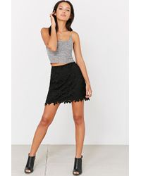 Kimchi Blue | Black Crochet Fitted Mini Skirt | Lyst